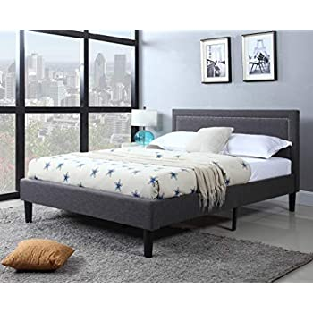 Amazon Com Queen Upholstered Tufted Headboard Amp Bed Frame