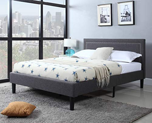 DIVANO ROMA FURNITURE Queen Upholstered Tufted Headboard & Bed Frame - 32