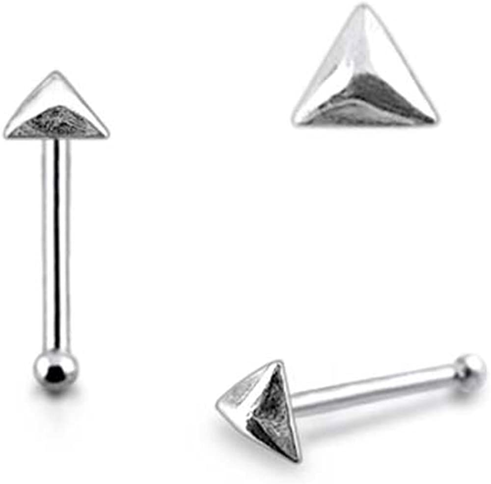 0.8x6MM Pack of 5 Pieces Plain Triangle Pyramid 925 Sterling Silver 20Gx1//4 Ball End Nose Pin