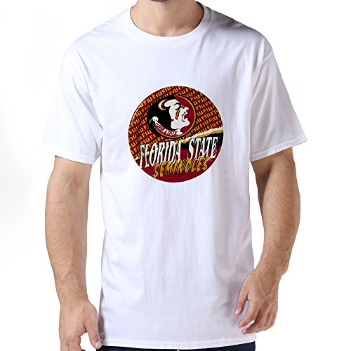 Male Online 100% Cotton Fsu Football Logo T-shirt Size S Color White