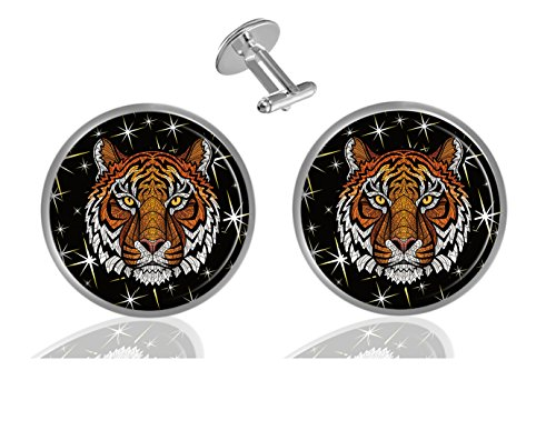 ecowcow Color head of Tiger Custom Classic Jewelry Tuxedo Shirt Cufflinks Men's Unique Business Gifts