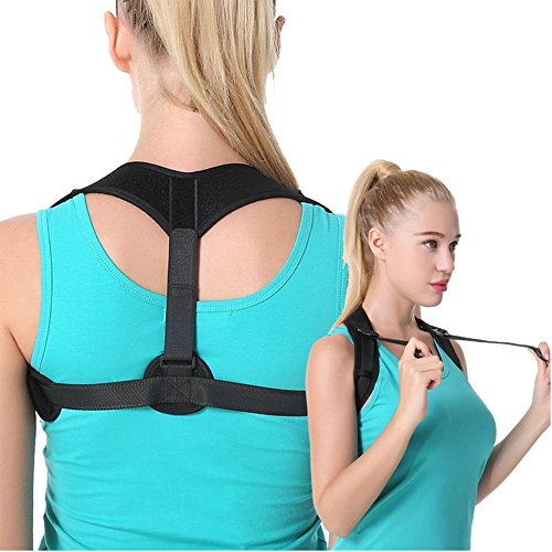 AIHIKO Posture Corrector for Women and Men Comfortable Upper Back Brace for Slouching and Hunching Shoulder Clavicle Support Front Adjustable Straps – Black by AIHIKO