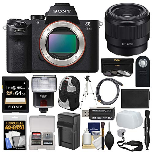Sony Alpha A7 II Digital Camera Body with FE 50mm f/1.8 Lens + 64GB Card + Backpack + Flash + Battery & Charger + Kit ()