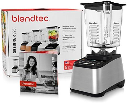 Blendtec Designer 725 Blender with BPA-Free WildSide Jar with Vented Gripper Lid Blendtec Recipe Book and Starter Guide – Stainless Steel