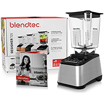 Blendtec Designer 725 Blender with BPA-Free WildSide Jar with Vented Gripper Lid + Blendtec Recipe Book and Starter Guide