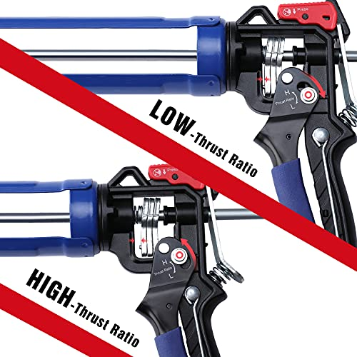 WORKPRO Caulking Gun, Adjustable Thrust Ratio, Smooth Round Rod Hand Silicone gun, Dripless Regulating, Sealant Caulking Gun with Comfort Grip, 8:1 & 16:1 Thrust Ratio, for Standard Caulk tubes