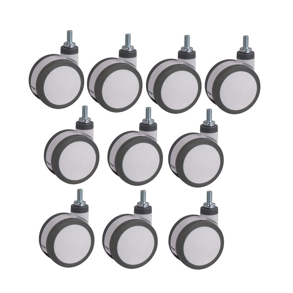 MUMA Casters Gray Plastic High Strength Polyurethane Screw Universal Cabinets Wheel 5 Inch 10 Pack (Size : 5 inch)