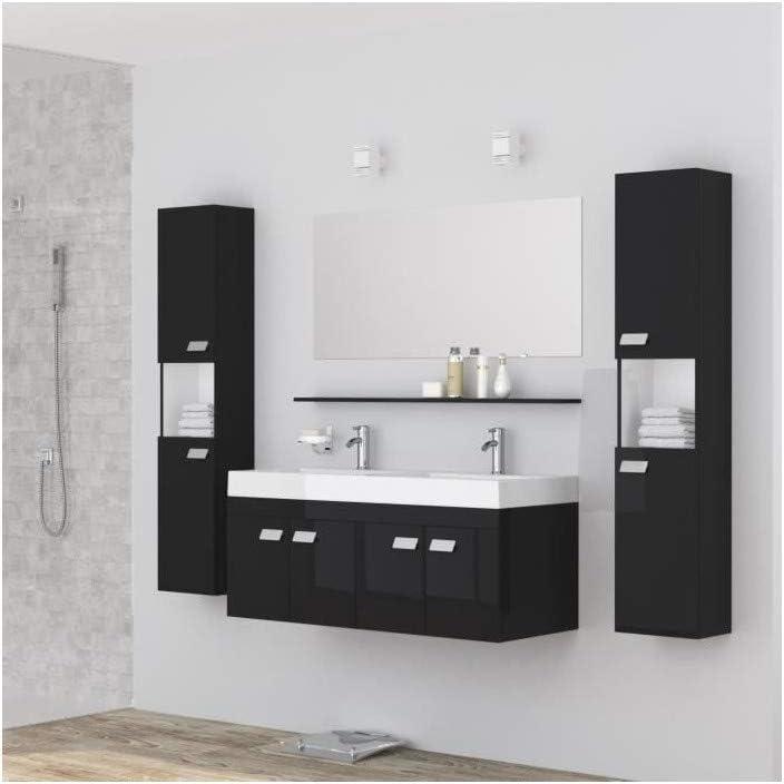 ALPOS Salle de bain complete double vasque 120 cm - Laqué noir brillant