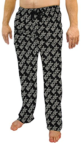 (AC/DC All Over Print Men's Lounge Pajama Pants (Large) Black)