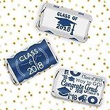 Class of 2018 Graduation Miniatures Candy Bar Wrapper Stickers, Set of 54 (Blue)