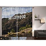 """Digital Graphic Print Hollywood Sign Designer's Collection Window Curtain 2 Panel 108""""x90"""" 2522"""