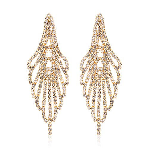 Swan Feather Earrings - RIAH FASHION Sparkly Rhinestone Chandelier Drop Statement Earrings - Bridal Wedding Crystal Cubic Zirconia Dangles Cascade, Teardrop, Fringe Tassel, Waterfall Duster (Swan Feather - Gold)