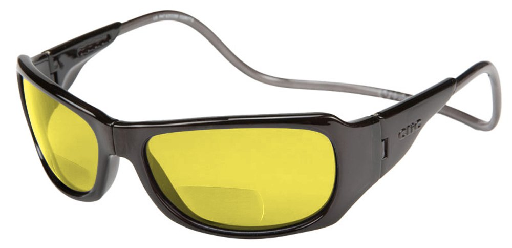 Clic Monarch Polarized Bi-Focal Reading Sunglasses in Black with Yellow Lens +2.00