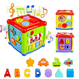 VAJEME Baby Activity Cube, Shape Sorter Blocks Baby Toy 18 Months and Up, Music Learning Toys for Toddlers Infant , Early Educational Puzzle Development Sorting Cube