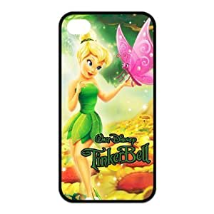 4S Case,TPU iPhone 4s Case,Tinker Bell Design Fashion Pattern Hard Back Cover Snap on Case for iPhone 4 / 4s (Black/white)