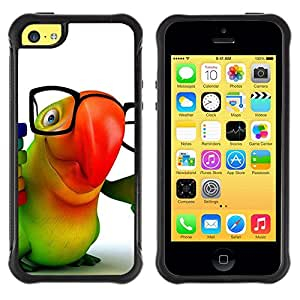 Suave TPU Caso Carcasa de Caucho Funda para Apple Iphone 5C / Parrot Glasses Colorful Animation Hipster 3D / STRONG