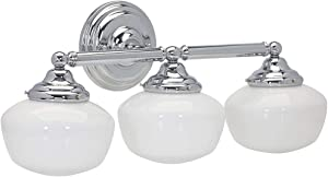 Hamilton Hills Triple Rounded Glass Light Fixture Vanity Bathroom Lights Classic Traditional Design