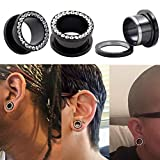 Qmcandy 8pcs Stainless Steel Screwed Ear Tunnels