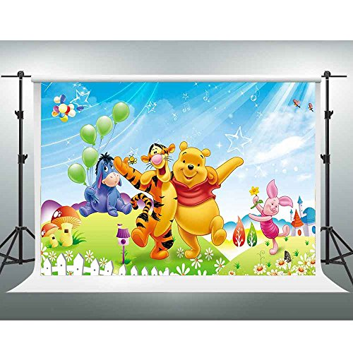 Disney Backdrops GESEN 10x7ft Cartoon Anime Winnie the Pooh Photography Background for Children Newborn Baby Shower Photo Studio Shooting Props LXGE144 -