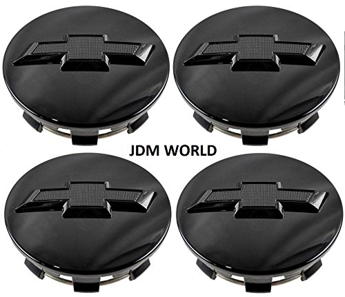 4pcs. Chevy Suburban Tahoe Center Caps 23480948 Wheel Center Cap Gloss Black with Bowtie Logo for GM Truck SUV - Caps Wheel Chevy