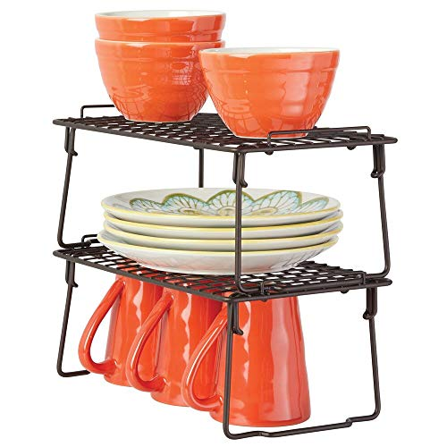 mDesign Metal Stackable Storage Shelf - 2 Tier Raised Food and Kitchen Organizer for Cabinets, Pantry Shelves, Countertops, Closet, 2 Pack, 7