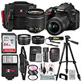 Nikon D3500 DSLR Camera with AF-P DX NIKKOR 18-55mm f/3.5-5.6G VR Lens + 64GB Card, Flash, Tripod, Battery, and Deluxe Bundle