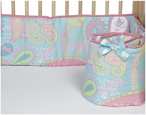 My Baby Sam Pixie Baby Crib Bumper, Aqua and Pink