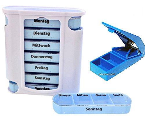 all-around24 Medikamentendosierer Pillendose Pillenbox Tablettendose Tablettenbox Wochendosierer 7 Tage (Pillendose inkl. Tablettenteiler)