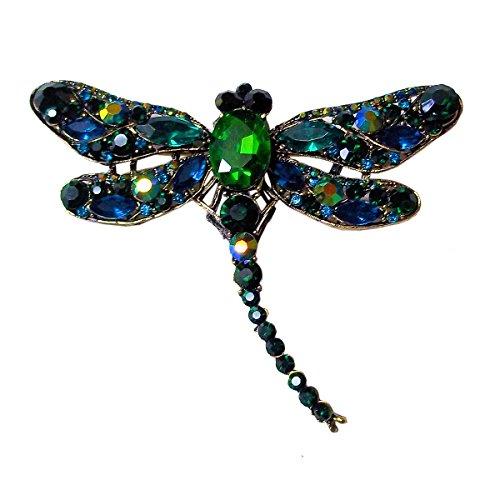 Heaven's Charms Blue Green Rhinestone Crystal Dragonfly Brooch Pin ()