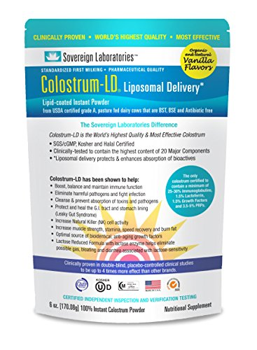 Organic Colostrum-LD Powder with Proprietary Liposomal Delivery (LD) Technology for up to 1500% Better Bioavailability than Regular Bovine Colostrum (Organic Vanilla, 6 Ounce)