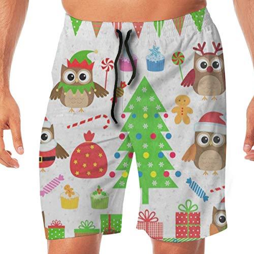Casual Mens Shorts Christmas Party Tree Owl Gift Cupcake Candy Swim Trunks Quick Dry Beach Short Drawstring Elastic Waist Summer Board Shorts