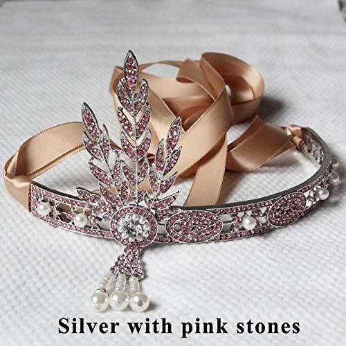 Buckes - 1pcs/lot 6.4'' Gatsby Headpiece Wedding Bridal Great Gatsby Vintage Crown Pearls Headband RC101002-1 - (Color: Pink)