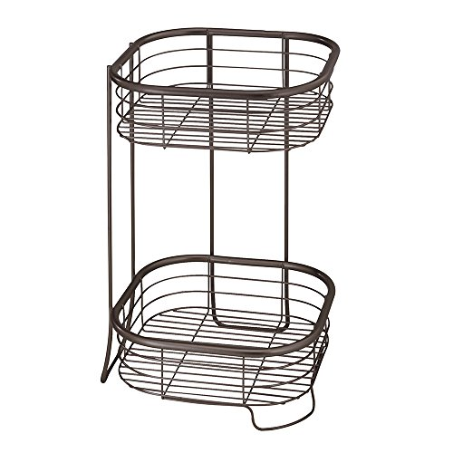 InterDesign Forma Metal Wire Free-Standing 2-Tier Shelves, Vanity Caddy Baskets for Bathroom Countertops, Desks, Dressers, 9.5