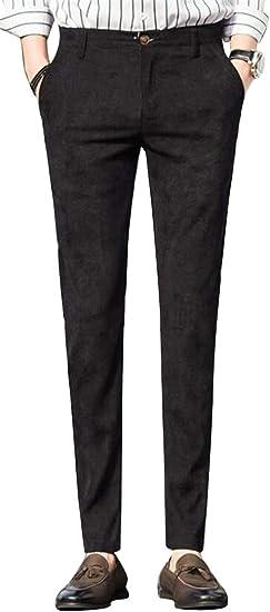 Etecredpow Mens Classic Slim Fit Business Work Casual Straight Leg Pants