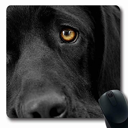 Ahawoso Mousepads Black Lab Labrador Retriever Oblong Shape 7.9 x 9.5 Inches Oblong Gaming Mouse Pad Non-Slip Rubber - Black Pad Mouse Labrador Retriever
