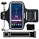 Armband sports case for Samsung Galaxy S8/S9 Sports, for iphoneX/6/7/8, 5.8 inch phone holder with Extension Strap and Workout In-Ear Earphones with MIC Set for Runners, Exercise, Gym, Fitness.