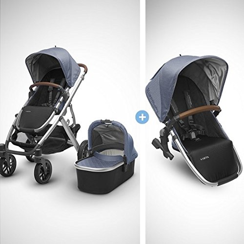 2018 UPPAbaby VISTA Stroller - Henry (Blue Marl/Silver/Saddle Leather) + RumbleSeat- Henry (Blue Marl/Silver/Saddle Leather) by UPPAbaby