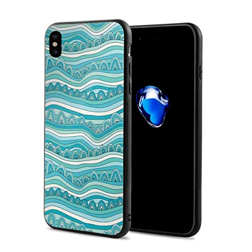 Inspired Egg Ornaments - Phone Case Cover for iPhone X XS,Hand-Drawn Style Wave Pattern Sea Inspired Ocean Ornament,Compatible with iPhone X/XS 5.8