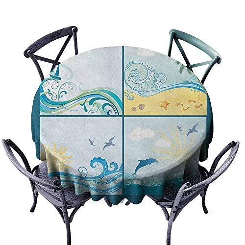 duommhome Beach Fitted Tablecloth Maritime Themed Frames with Waves Sun Trees Dolphins Birds Exotic Sea Pattern Great for Buffet Table D71 Blue Beige Green