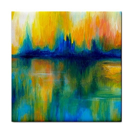 Large Ceramic Tile 6x6 Abstract 14 green orange art painting