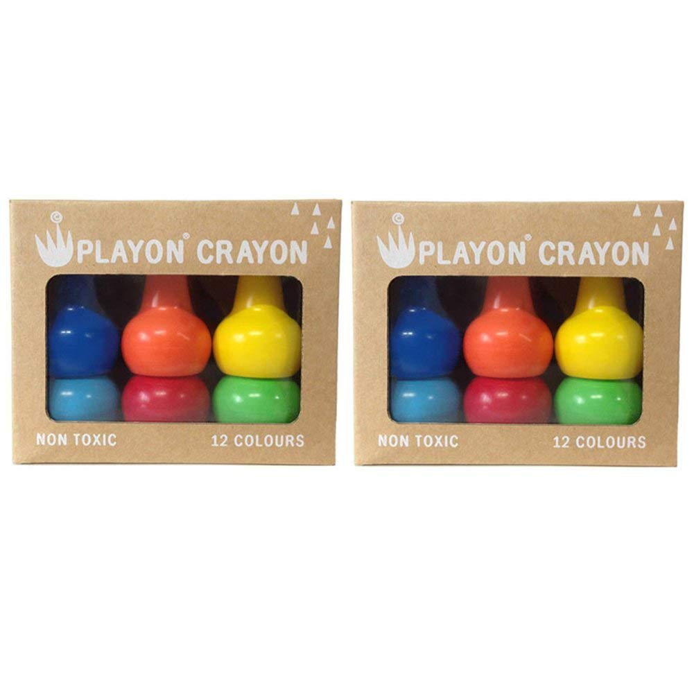 Easy to Hold Toddler Crayons Set of 2 Primary Color Boxes Stackable and Non-Toxic