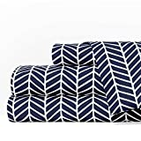 Egyptian Luxury 1600 Series Hotel Collection Herringbone Pattern Bed Sheet Set - Deep Pockets, Wrinkle and Fade Resistant, Hypoallergenic Sheet and Pillowcase Set - Queen - Navy/White