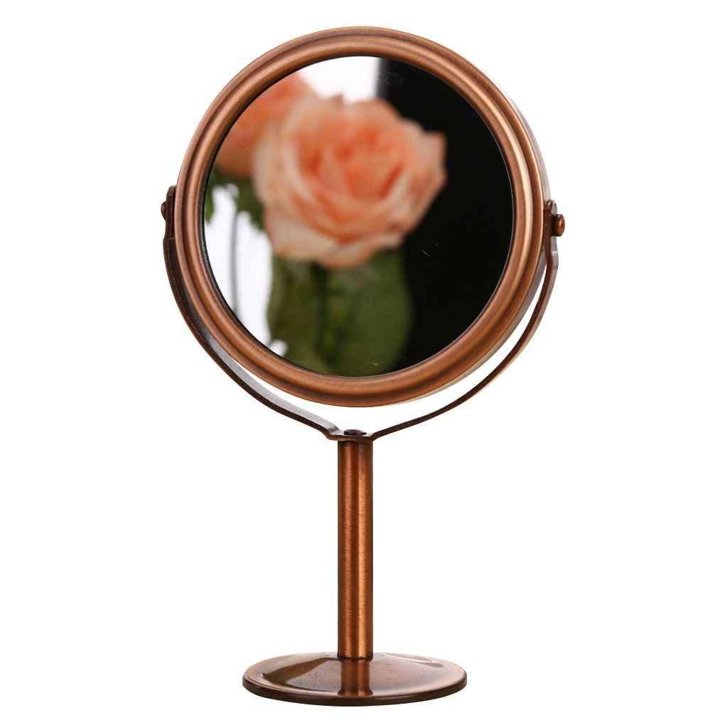 Babysbreath Retro doppio lato salone di parrucchiere specchio di trucco specchio 1: 2 funzione di ingrandimento rame rosso e rotondo