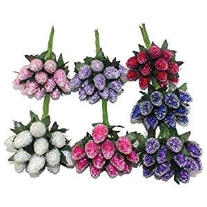 Blue Skieses 12pcs / lot Head 6 Colors Artificial Strawberry Stamen 84