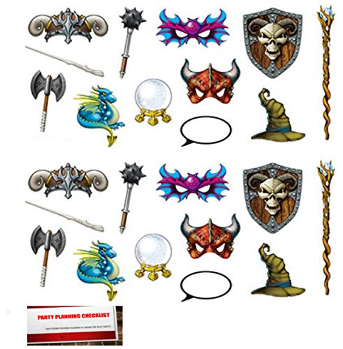 Fantasy Medieval Magic Castle Fun Photo Props 24 Pack, 7 to 19.75 Inches (Plus Party Planning Checklist by Mikes Super Store) -
