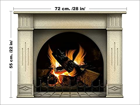 Vinyl Fireplace Wall Sticker - Wallpaper Graphic Decoration for Bedroom or Living Room in Your Apartment or House - Livens Up a Workplace or Home and It Feels Warmer Than It (Fireplace Wallpaper)