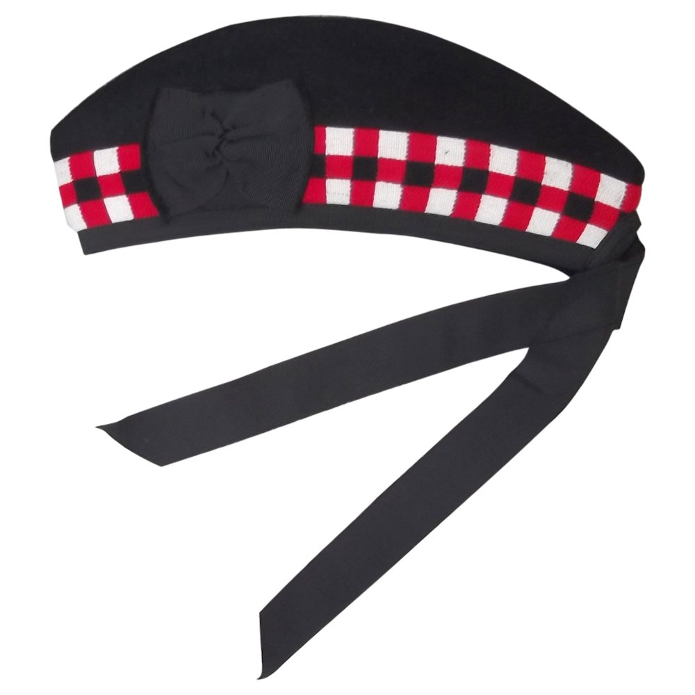 New Glengarry Diced Black Wool Scottish Bagpipe /Kilt Hat Size 7 3/8 - (UK 59)