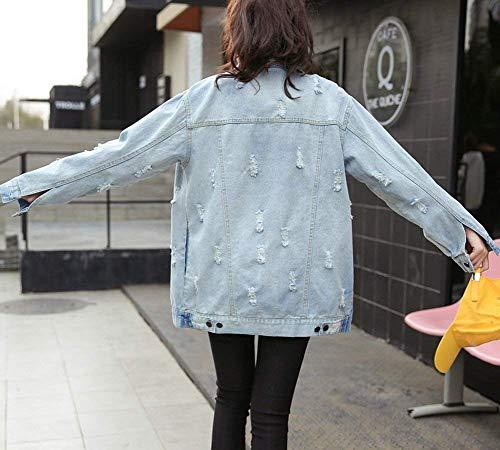 Style Puro Festa Cappotto Fashion Bild Giacche Bavero Strappato Jeans Als Accogliente Moda Outerwear Con Button Lunga Colore Hipster Tasche Autunno Di Ragazze Giaccone Giacca Manica Donna Primaverile Casuali 66zq8