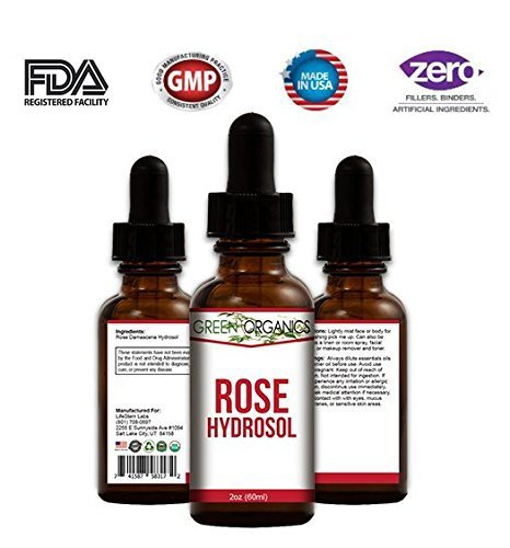 Pure & Organic Rose Hydrosol (Rosewater) - Filled With Natural Antioxidants & Skin-Loving Vitamins A & C. Hydrates, Tones, and Rejuvenates Tired Skin. - 2 oz by Green Organics ()