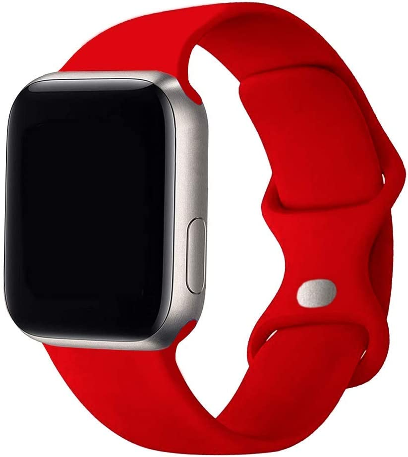 SexHope Silicone Replacement Bands Compatible with Apple Watch 38mm 40mm 42mm 44mm SE, Series 6/5/ 4/3/2/1 (Red, 38mm/40mm S/M)